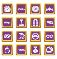 car race icons set purple square vector image