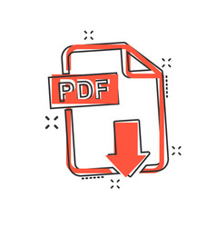 cartoon pdf download icon in comic style pdf vector image