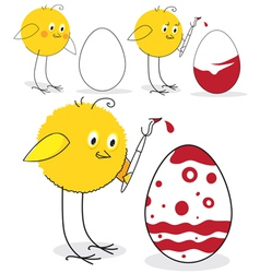 Chicken and Easter egg vector image