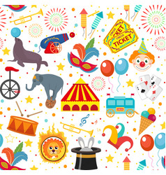 Circus seamless pattern holiday carnival endless vector