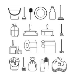 Cleaning service elements sketch silhouette on vector