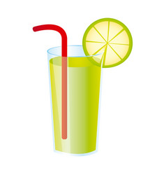 Colorful realistic lemon freshness drink cocktail vector
