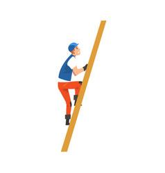 Construction worker climbing ladder male builder vector