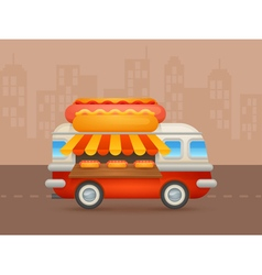 Cute cartoon realistic hot-dog van vector image