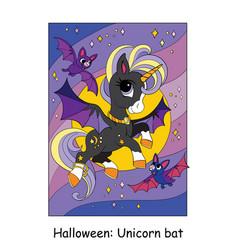 Cute unicorn flies with bats halloween vector