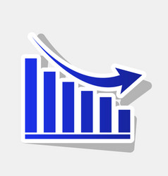 Declining graph sign new year bluish icon vector
