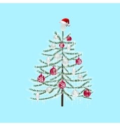 Decorated with toys Christmas tree on a light blue vector image