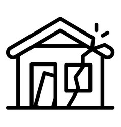 Destroyed house icon outline style vector