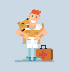 doctor and funny dog vector image