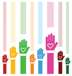 Donate icon with hand and heart color vector