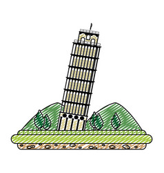 doodle leaning tower of pisa with mountains and vector image