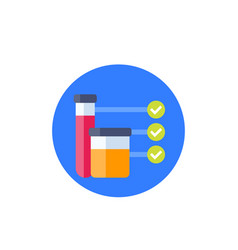 Doping test urine and blood samples icon vector