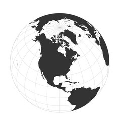 Earth globe focused on north america vector