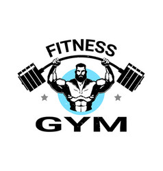 Fitness gym logo with athletic man training black vector