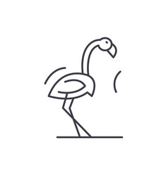 flamingo line icon concept flamingo linear vector image