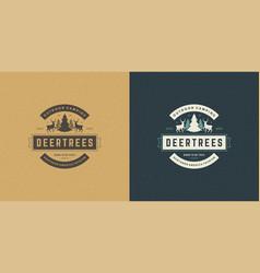 forest camping logo emblem summer vacation vector image