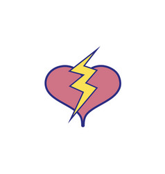 Full color heart with thunder symbol lobe design vector
