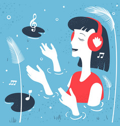 girl listens to music abstraction vector image