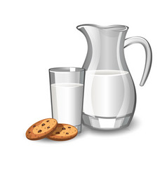 Glass with milk and baked cookies vector