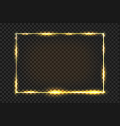 golden frame with light effect golden vintage vector image