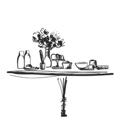 Hand drawn wares dinner family food and drink vector