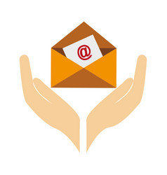 Hands human with envelope letter isolated icon vector