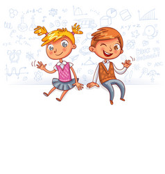 happy children sit on a big blank poster vector image