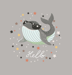 Hello card with bashark in sunglasses on gray vector