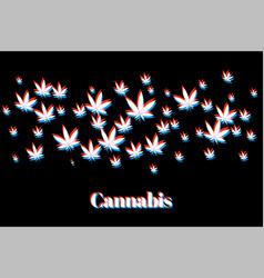 hologram style marijuana cannabis leaves vector image