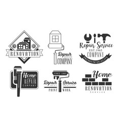 home service repair company retro labels set vector image