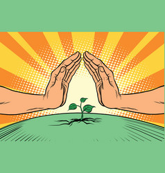 Human hands protecting a green sprout environment vector