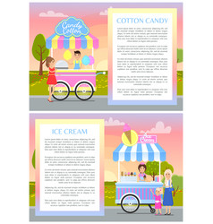 Ice cream and cotton candy vector