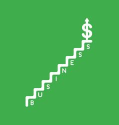 icon concept of business stairs and dollar arrow vector image