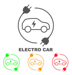Icons electric cars indication of vector