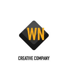Initial letter wn black creative design logo in vector