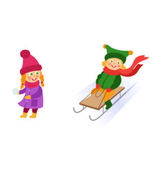 Kids children riding a sleigh throwing snowballs vector