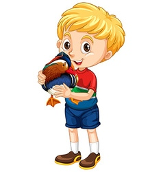 Little boy and a duck vector image