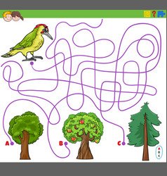 Maze lines game with woodpecker and trees vector