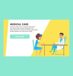 medical care banner doctor and nurse characters vector image