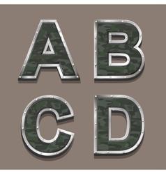 Military letters alphabet Steel Metallic khaki vector image