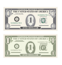 money set paper banknotes one dollar vector image