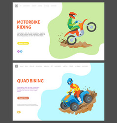 Motorbike and quad biking webpages with text set vector