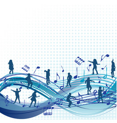 music background with children silhouettes vector image