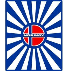 Norway flag on sun rays backdrop vector image