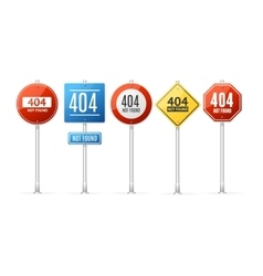 Not Found Error Concept Roadsign Set vector