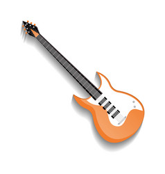 orange bass guitar isolated icon vector image