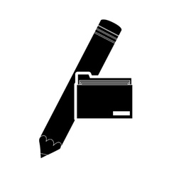 pencil and file folder icon vector image