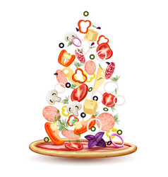 pizza toppings pile composition vector image
