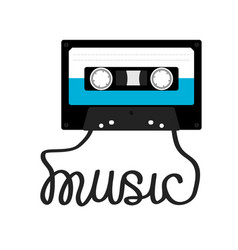 Plastic audio tape cassette with tape word music vector