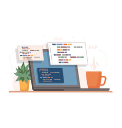 programming and coding table with laptop and cup vector image
